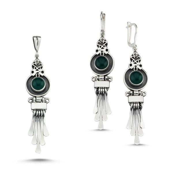 Green Agate Stone Handmade Set  - S83984
