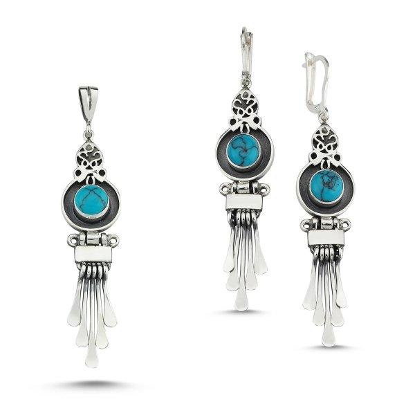 Turquoise Stone Handmade Set - S83985