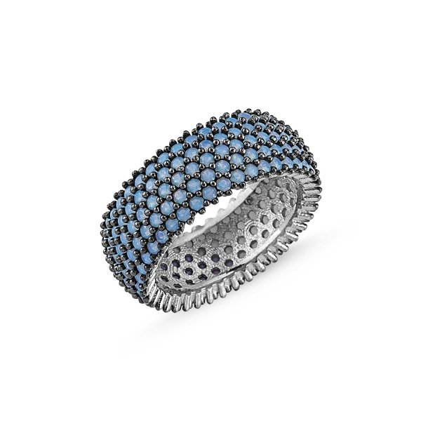 Rhodium Plated Nano 5 Line Eternity Ring  - R83999