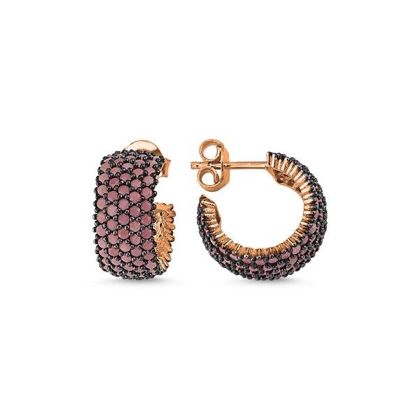 Rose Gold Plated Nano 5 Line Eternity Earrings - E84007