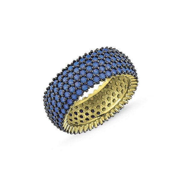 Gold Plated Nano 5 Lines Eternity Ring - R84099