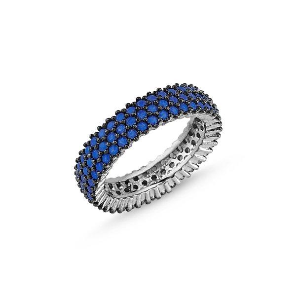 Rhodium Plated Nano 3 Line Eternity Ring - R84101