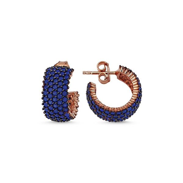 Rose Gold Plated Nano 5 Line Eternity Earrings - E84106
