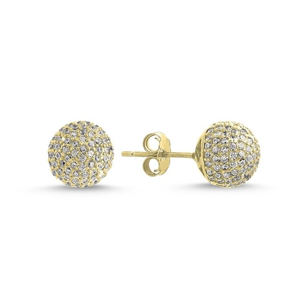 CZ Gold Plated Ball Stud Earrings - E84302