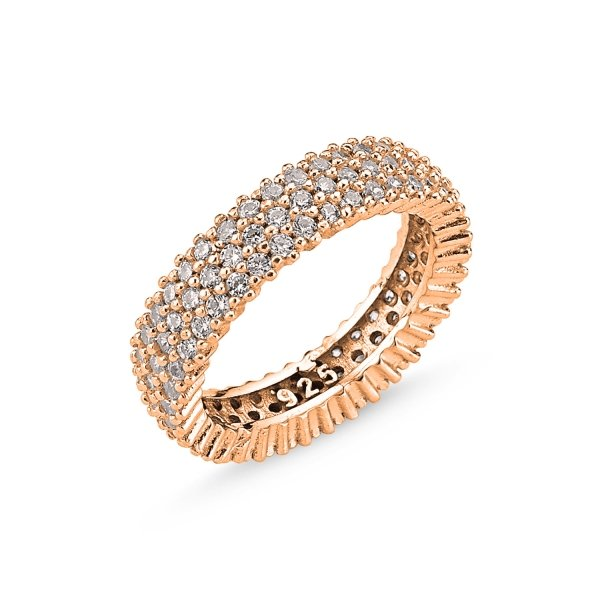 Rose Gold Plated CZ 3 Lines Eternity Ring - R84307