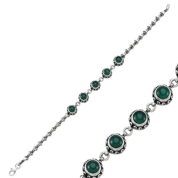 Green Agate Stone Handmade Bracelet - B84426