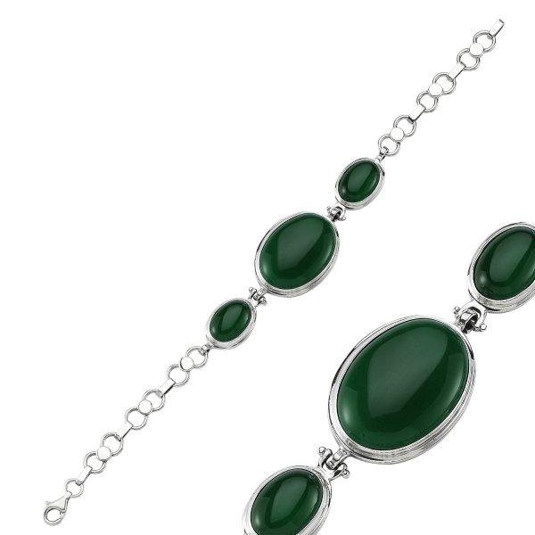 Green Agate Stone Handmade Bracelet - B84428