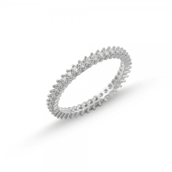 Rhodium Plated CZ Single Line Eternity Ring  - R84430