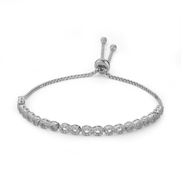 CZ Infinity Adjustable Sliding Bracelet - B84611