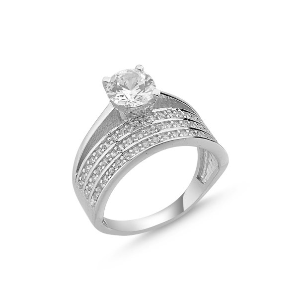 CZ Three Lines Half Eternity & Solitaire Ring  - R84644
