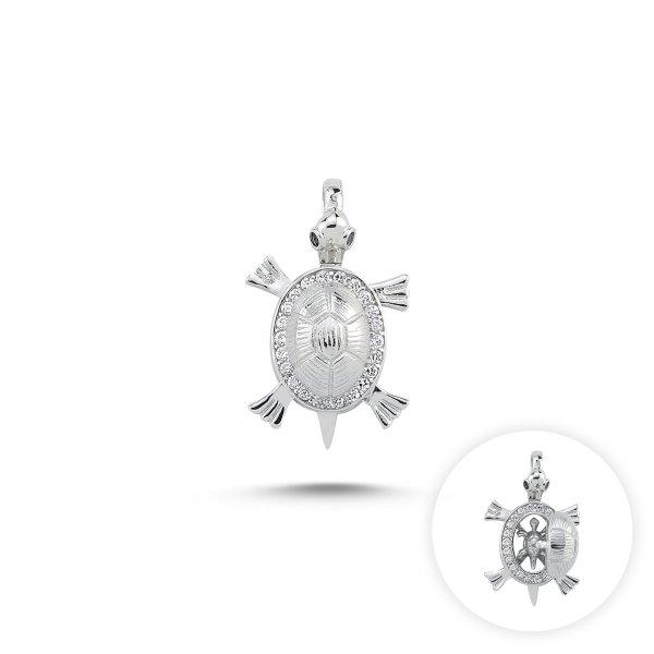 CZ Movable Turtle & Baby Turtle Pendant - P85138
