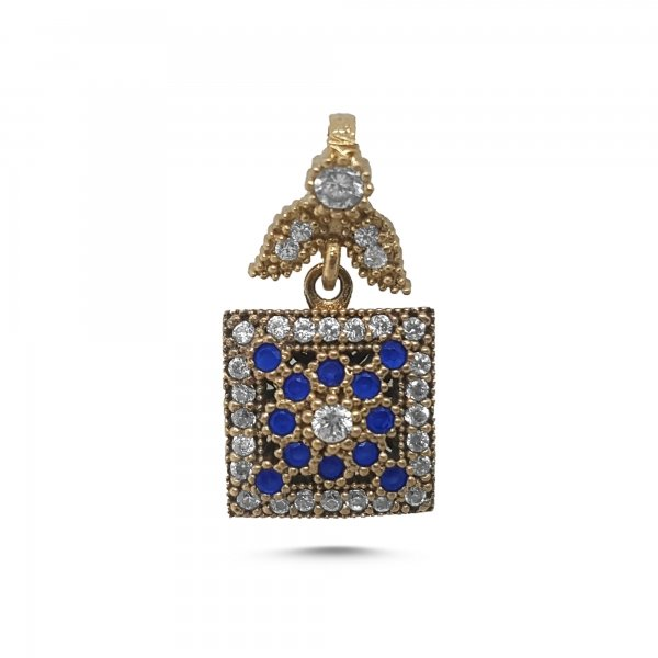 Ottoman Style Square Pendant with Sapphire CZ - P85318