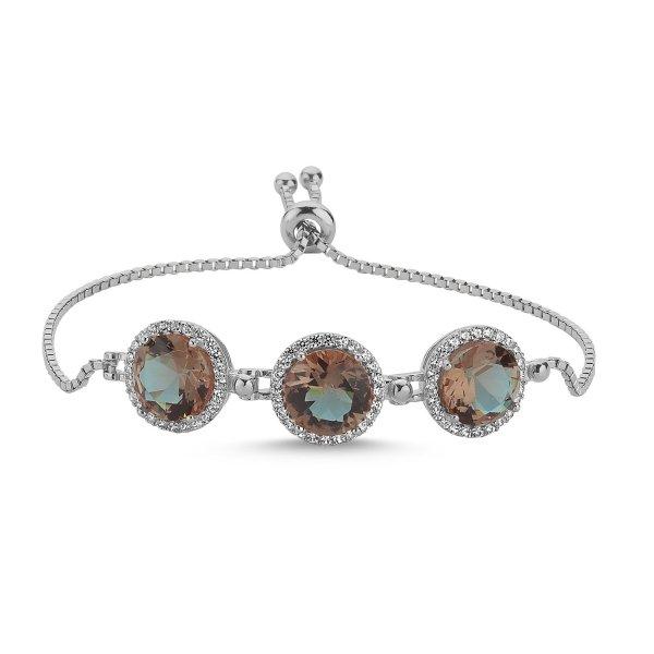 Round Cut Sultanit Adjustable Sliding Bracelet - B85499