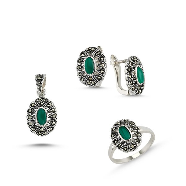 Marcasite Set of Pendant, Ring and Earrings - S85842