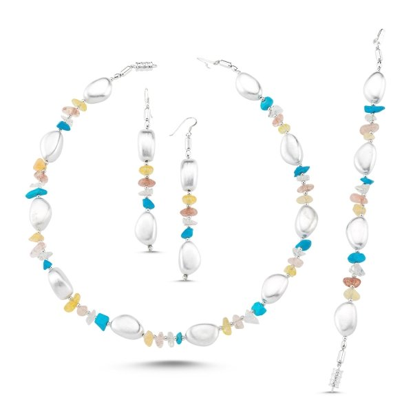 Turquoise and Colored Quartz Necklace, Bracelet & Earrings Set - S86269
