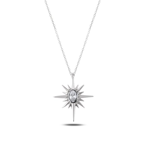 62a5b15bd6ed4 Sterling Silver CZ North Star Necklace - N87875 | Şile Silver, Jewelry ...