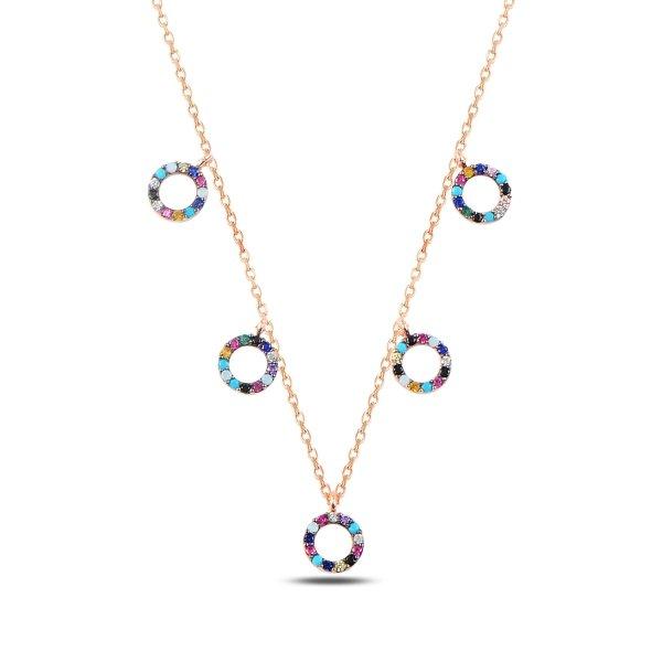 Mix CZ Circles Dangle Necklace - N89276