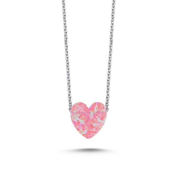 Pink Opal Heart Necklace - N89512