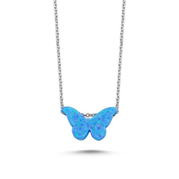 Light Blue Opal Butterfly Necklace - N89514