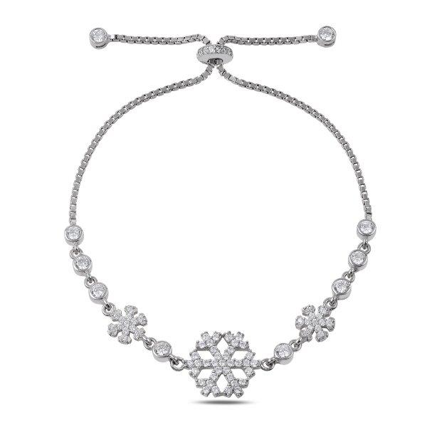 CZ Snowflake Adjustable Sliding Bracelet - B89735