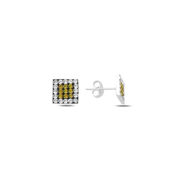 CZ Square Stud Earrings - E89914