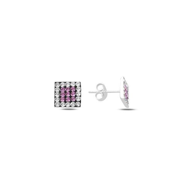 CZ Square Stud Earrings - E89916