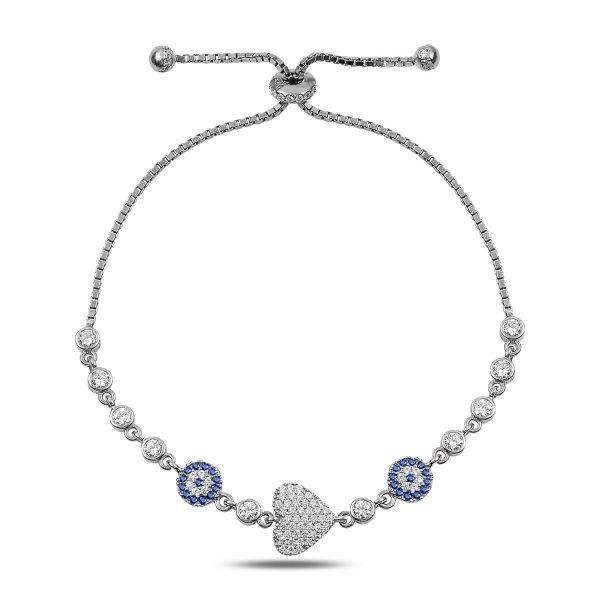 CZ Heart & Evil Eye Adjustable Sliding Bracelet - B90318