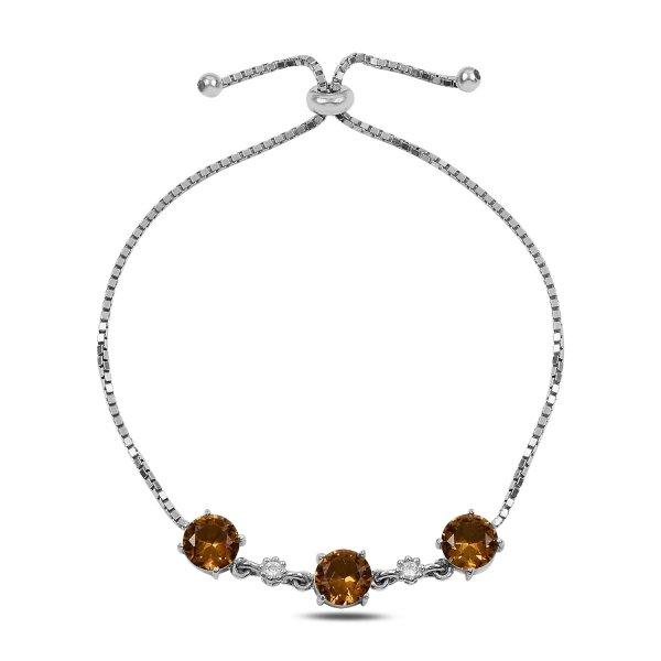 Sultanit & CZ Adjustable Sliding Bracelet - B91039