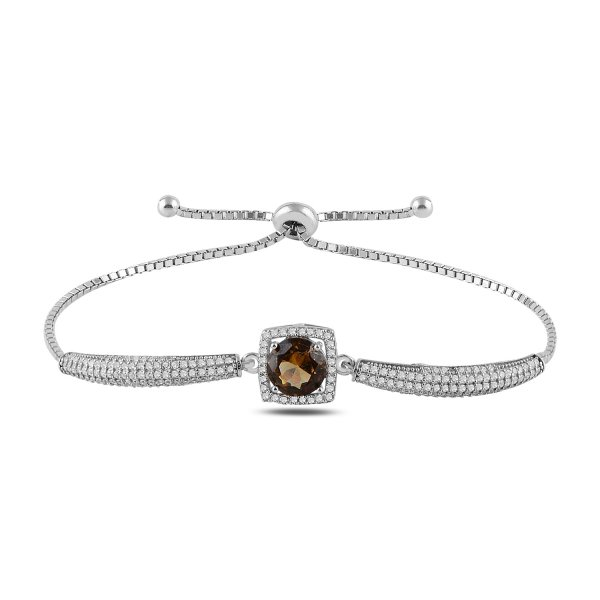 Sultanit & CZ Adjustable Sliding Bracelet - B91044