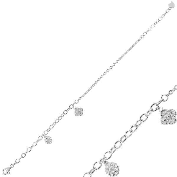 CZ Dangle Quatrefoil Bracelet - B91325