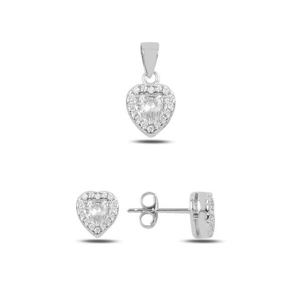CZ Heart Earrings & Pendant Set - S91373