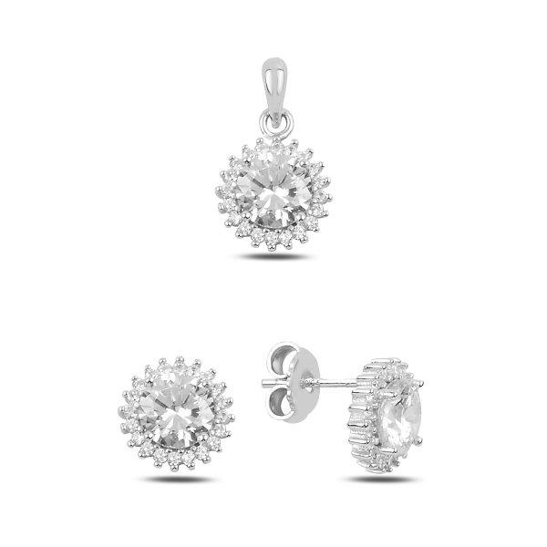 Sunflower CZ Earrings & Pendant Set - S91384