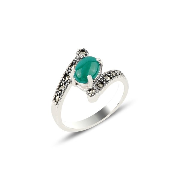 Green Agate & Marcasite Ring - R91899
