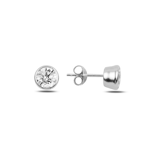 6mm Round Solitaire CZ Stud Earrings - E92347