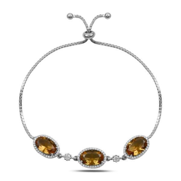 Sultanit & CZ Adjustable Sliding Bracelet - B92451