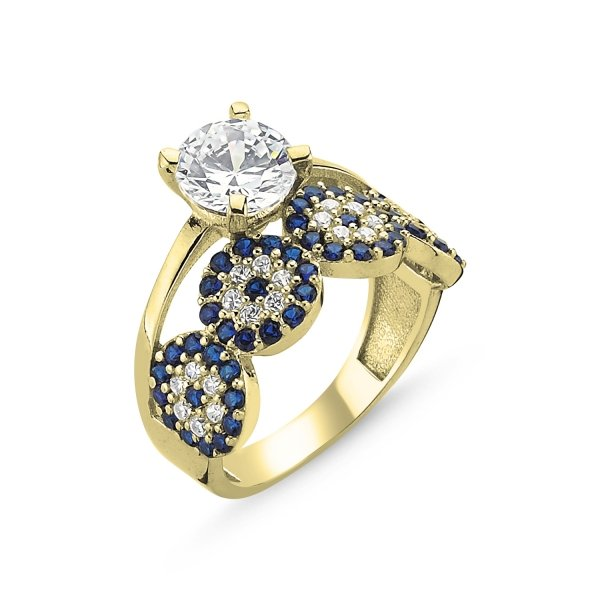 CZ Evil Eye Half Eternity & Solitaire Gold Plated Ring - R09267