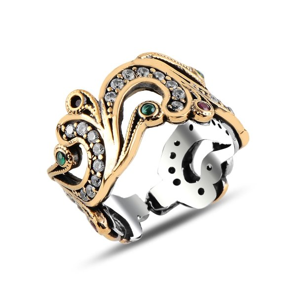 Ottoman Style Adjustable Size CZ Ring - R92957