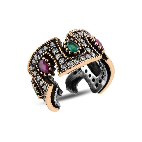 Ottoman Style Adjustable Size CZ Ring - R92959