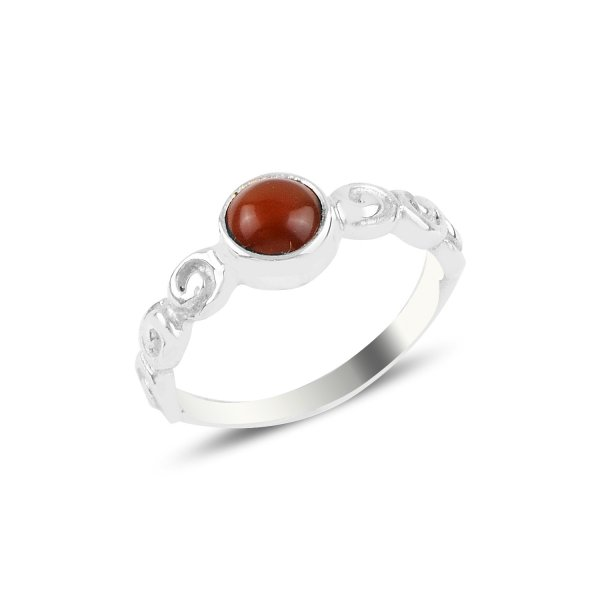 Red Agate Solitare Ring - R93814
