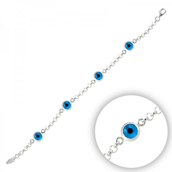Rhodium Plated Quad Evil Eye Bracelet - B09425