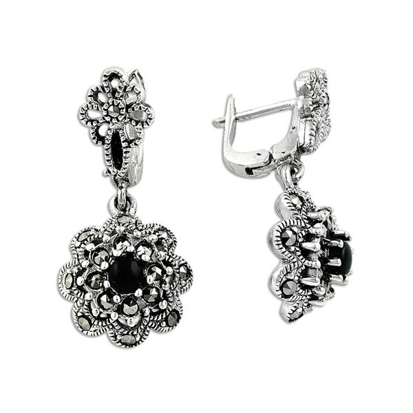 Marcasite Flower Earrings - E09892