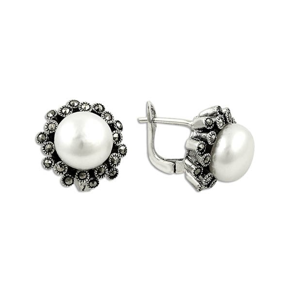 Pearl and Marcasite Daisy Earrings - E09896