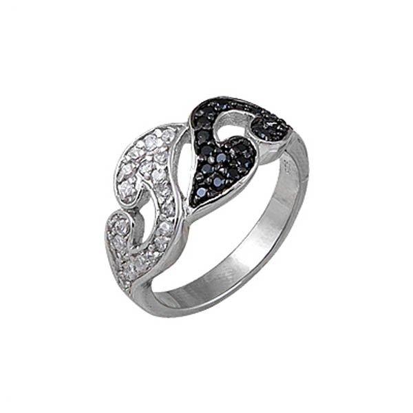 Rhodium Plated Silver Zirconia Ring - R00204