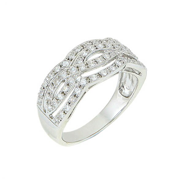 Rhodium Plated Silver Zirconia Ring - R00229