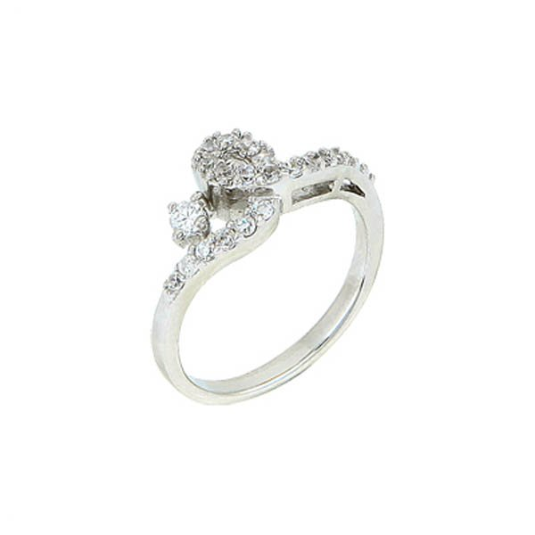 Rhodium Plated Zirconia Ring - R00233