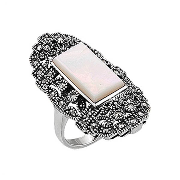 Natural Stone Marcasite Ring - R00327