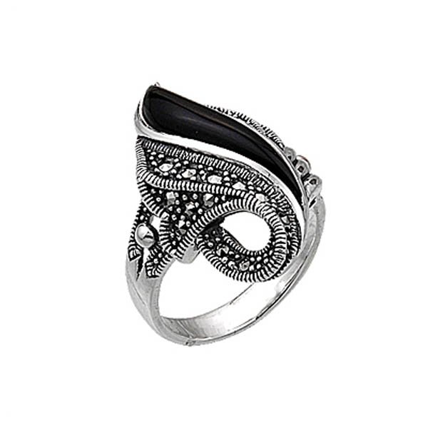 Natural Stone Marcasite Ring - R00330