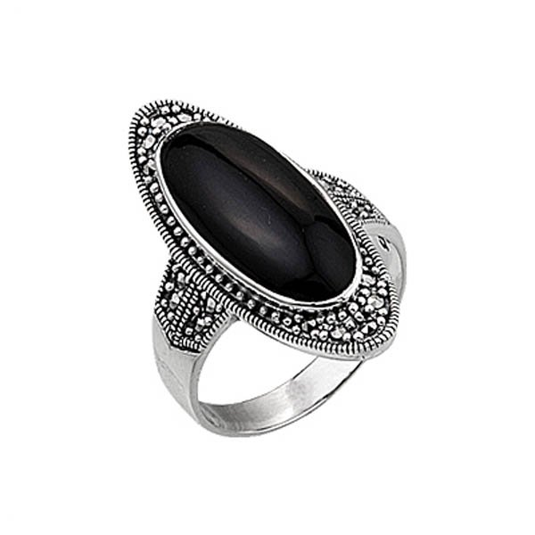Natural Stone Silver Marcasite Ring - R00332