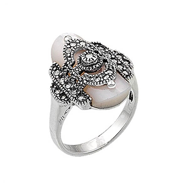 Natural Stone Marcasite Ring - R00334