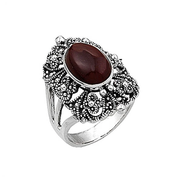 Natural Stone Marcasite Ring - R00335